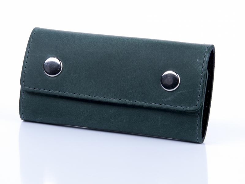 Зелена шкіряна ключниця з кріпленням на карабіні