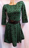 Платье женское новогоднее с поясом зеленое оптом