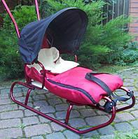 Детские санки коляска с ручкой, конвертом и козырьком для детей (дитячі з ручкою і дашком для дітей)