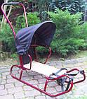 Дитячі санки коляска з ручкою, конвертом і козирком для дітей, фото 3