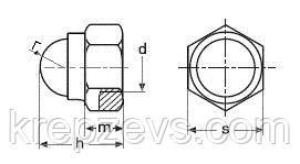 Схема габаритных размеров колпачковой гайки DIN 986