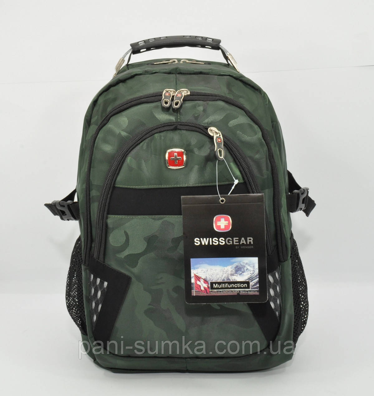 Рюкзак міський SwissGear 9363 хакі, вихід для навушників, дощовик