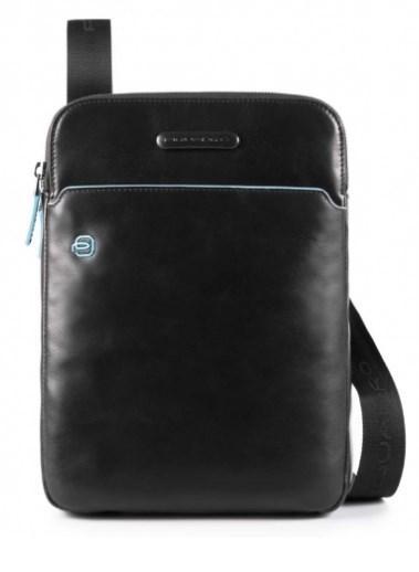 069dff8ae9e3 Мужская наплечная сумка Piquadro Blue Square из натуральной кожи с отделом  для iPad Air/Pro, черная CA3978B2_N