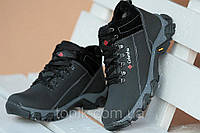 Ботинки спортивные полуботинки зимние кожа Columbia реплика  Columbia реплика  мужские черные (Код: Б184)