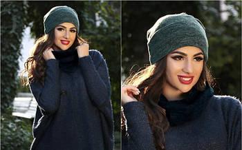 Я   Двойная теплая женская шапка из ангоры   Цвет зеленый