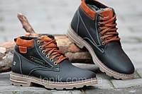 Ботинки полуботинки зимние кожа Columbia Коламбия реплика мужские черные с коричневым (Код: Б192)