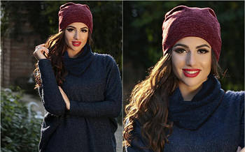 Я   Двойная теплая женская шапка из ангоры   Цвет бордовый