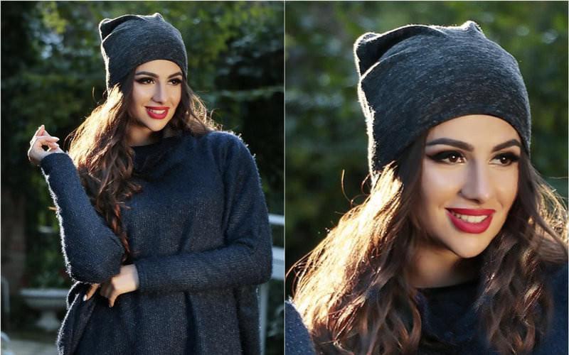 Я   Двойная теплая женская шапка из ангоры   Цвет черный