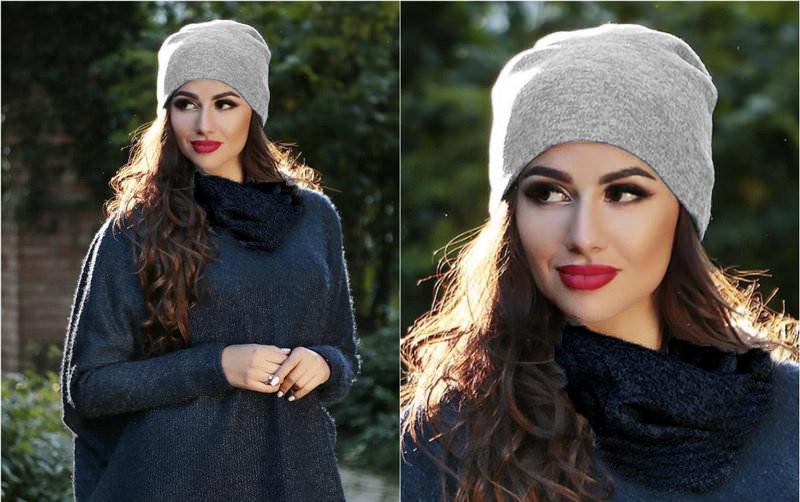Я | Двойная теплая женская шапка из ангоры | Цвет серый