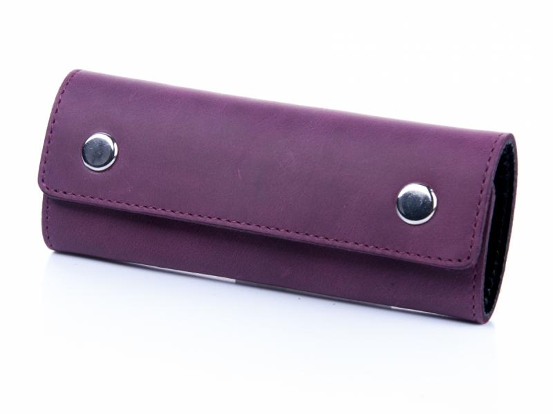 Оригинальная фиолетовая кожаная ключница с креплением на карабине
