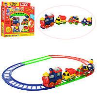 Железная дорога19016 B паровоз, машинки-вагончики 3 шт