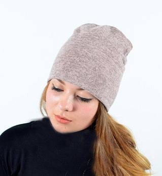 Я   Двойная теплая женская шапка из ангоры   Цвет пудра