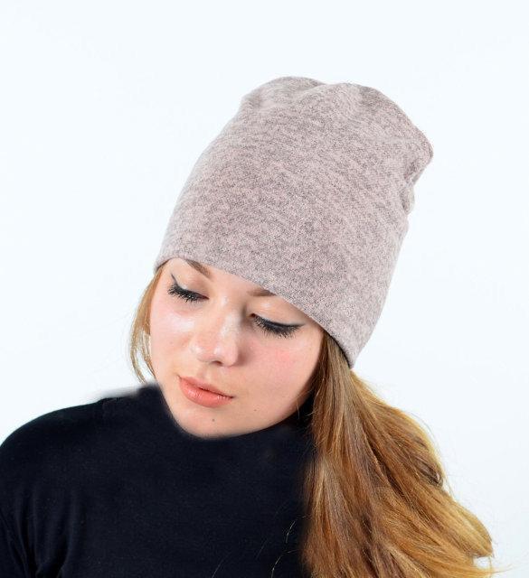 Я | Двойная теплая женская шапка из ангоры | Цвет пудра
