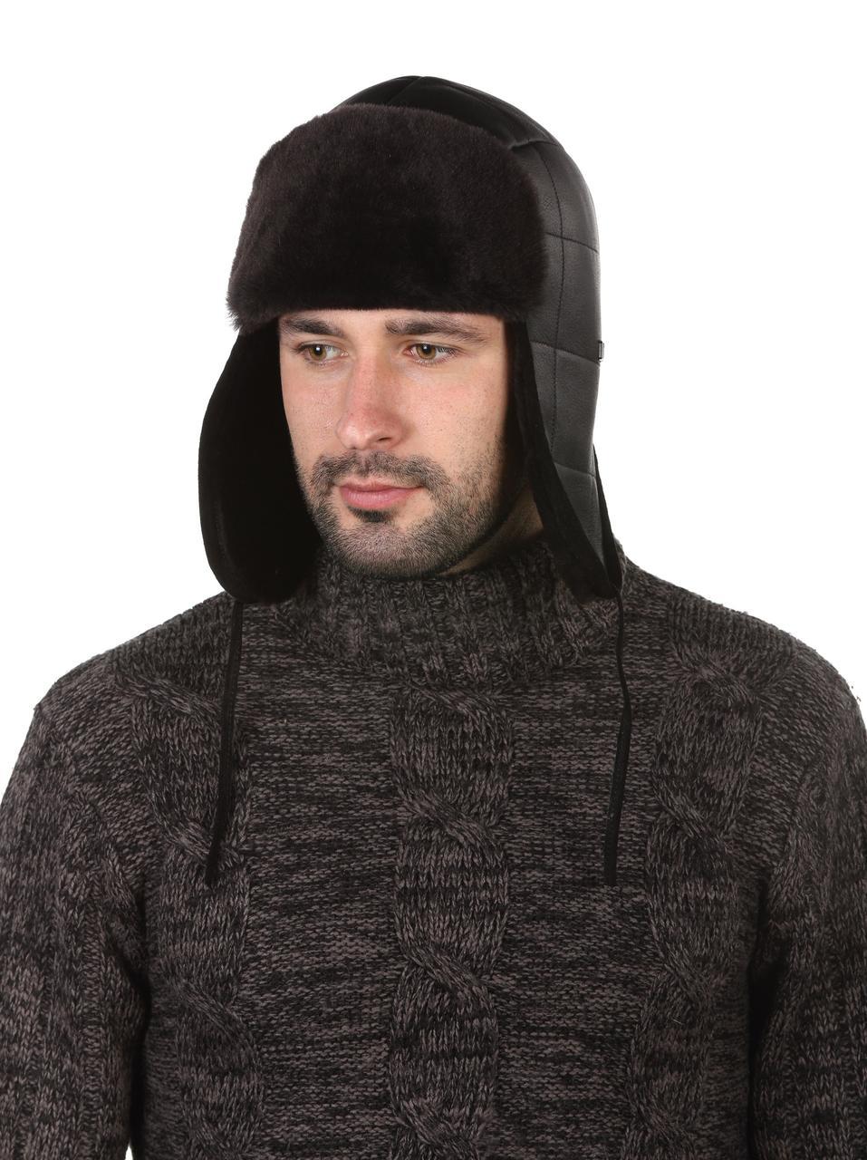 Ушанка мужская зимняя черная из овчины
