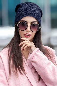 Женская теплая шапка женская Ангора двойная / цвет синий