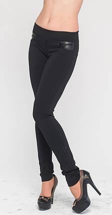 Леггинсы с кожаной листочкой и обманками черные 40 зима, фото 2