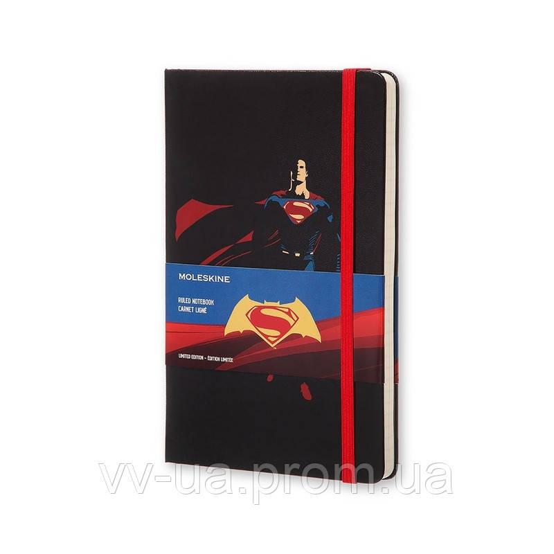 Книга записная Moleskine Batman vs Superman средняя, тверд.обл., черный, линия