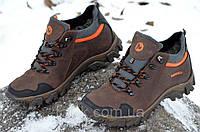 Ботинки кроссовки зимние кожа натуральный мех Merrell Мерел реплика мужские коричневые (Код: Б271)