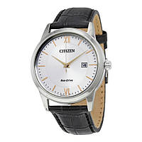 Мужские часы CITIZEN Eco-Drive Silver Dial Black Leather AW1236-03A