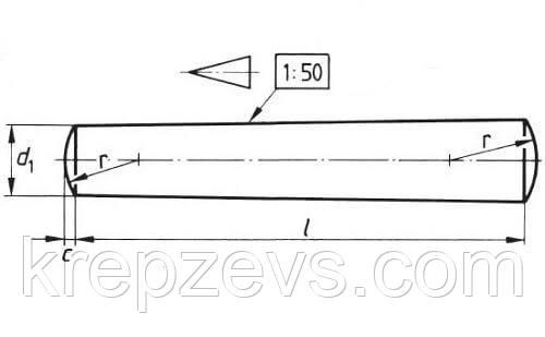 Схема штифта ГОСТ 3129-70