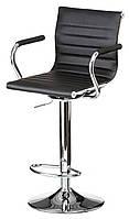 Барный стул с функцией регулировки высоты Bar black platе черный