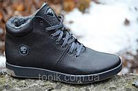 Ботинки кроссовки зимние кожа подошва полиуретан полуботинки Олимп мужские черные (Код: Б282а)