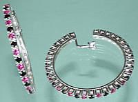 Срібні сережки з синтетичним рубіном та цирконом