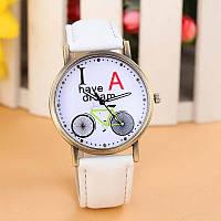 Часы наручные Велосипед ремешок под джинс белые