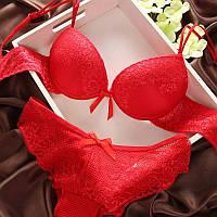 Комплект нижнего белья 80C (36C) red, push up, набор женского белья с пуш ап, фото 1