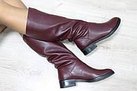 Зимние кожаные сапоги без замка
