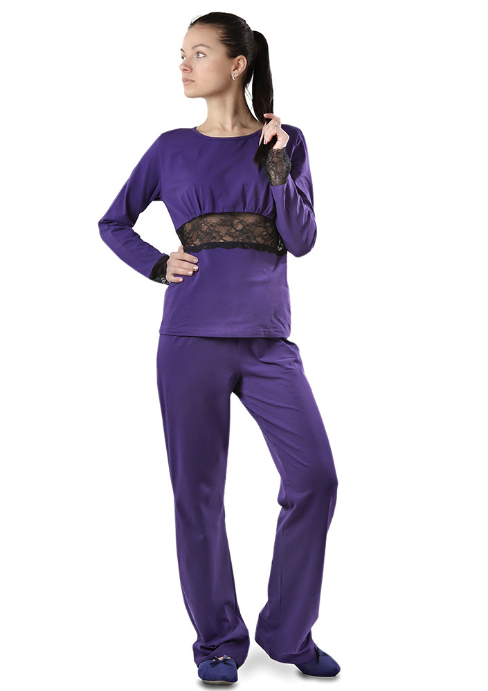 Женская хлопковая  пижама (штаны+кофта). Размеры от S до 2XL