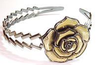 Обруч для волос, серый, золотая роза 144_2_137a6
