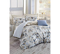 Хлопковый комплект постельного белья ЕВРО размера Cotton Box PASTELLA MAVI CB03