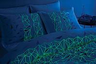 Светящееся постельное белье сатин евро TAC CRYSTAL V04 MAVI SV17