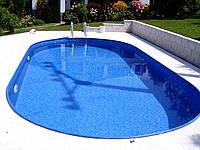 Сборный стационарный овальный бассейн  IBIZA 8,0 х 4,16 х 1,5 с лестницей и фильтром
