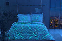 Светящееся постельное белье сатин евро TAC GINA V01 MAVI SV17