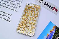 Чехол с блестками для iPhone 5 / 5S / SE (Золотая фольга)