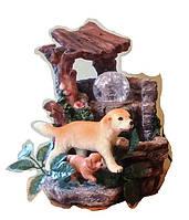 Фонтан декоративный комнатный дворик мини с родником 297 Размер 21=16=15 без насоса мама и щенок