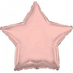 1204-0767 Шар фольгированный звезда 46 см розовое золото