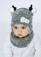 Детская зимняя шапка (набор) для малышей СНИК оптом размер 42-44-46, фото 1
