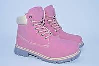 Подростковые зимние розовые ботинки реплика Тимберленд