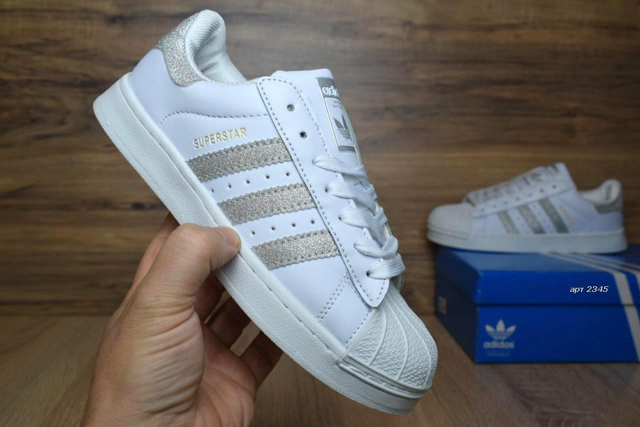 1630c6cc639dca Женские кроссовки Adidas Superstar серебристые блестки 2345 - Компания