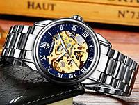 Механические наручные часы FNGEEN 8866 Сине-золотые