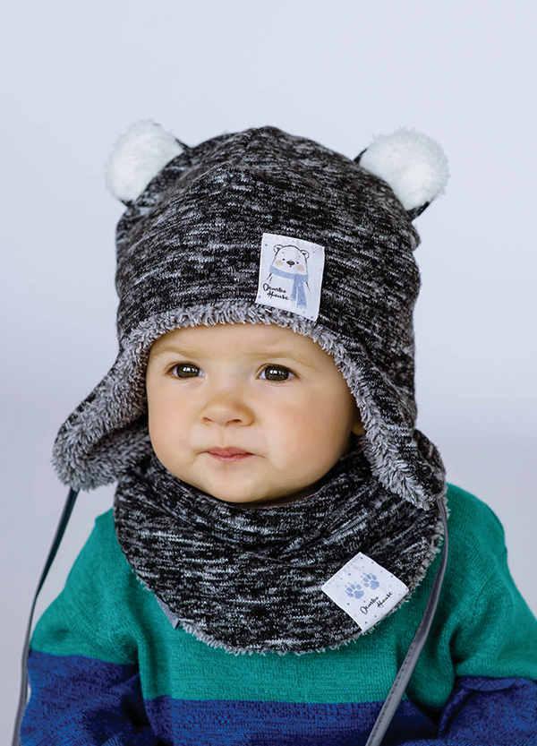 Детская зимняя шапка (набор) для мальчиков ФРАНК оптом размер 44-46-48
