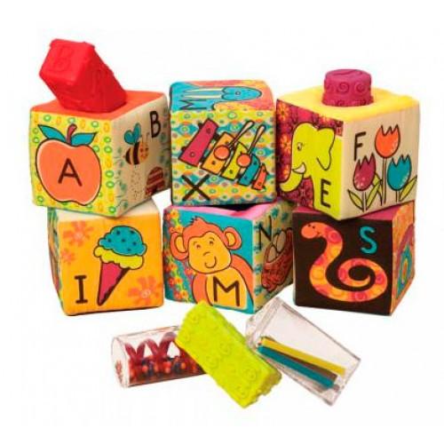 Мягкие кубики-сортеры ABC 6 кубиков в сумочке мягкие цвета Battat BX1477Z