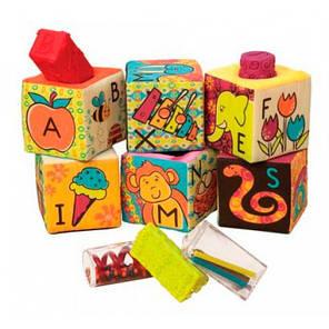 Мягкие кубики-сортеры ABC 6 кубиков в сумочке мягкие цвета Battat BX1477Z, фото 2