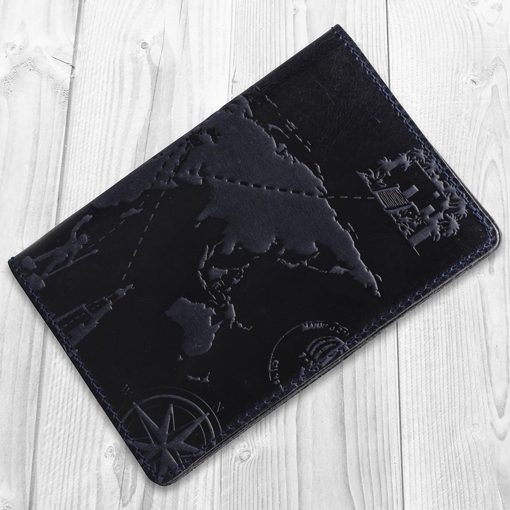Синяя обложка для паспорта ручной работы с отделом для ID документов и художественным тиснением