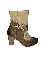 Полусапожки женские кожаные на каблуке Aga 1474 демисезон