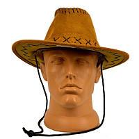 Шляпа ковбоя замшевая детская (светло-коричневая) 201117-040