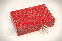 Коробка для еклеров, зефира, печенья и др. кондитерских изделий Зимняя красная 230x150x60мм